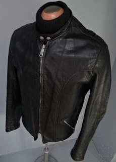 Buco BLACK Steerhide Leather CAFE RACER MOTORCYCLE Jacket COAT