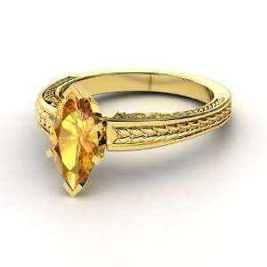 Marquise Ceres Ring, Marquise Citrine 14K Yellow Gold Ring Jewelry