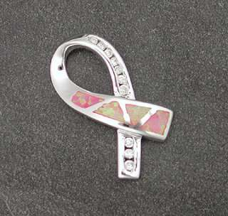 Sterling Silver Pink Opal Inlay Ribbon Pendant Breast Cancer Awareness