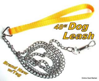 Dog Pet Puppy Leash Training Lead CHAIN w/ Nylon Handle Swivel Hook 48