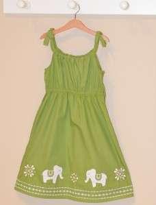 Gymboree Batik Summer Green & Gold Elephant Sun Dress 12