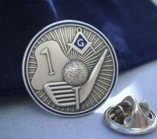 Masonic Golf Ball Golfing Sport Lapel Pin Plus Pouch