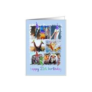 Happy 21st Birthday Zoo Animals Card: Toys & Games