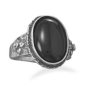 Oxidized Oval Black Onyx Ring Oxidized Sterling Silver Ring With 13mm