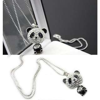 Cute Full of Crystals Panda Charm Pendent Necklace //