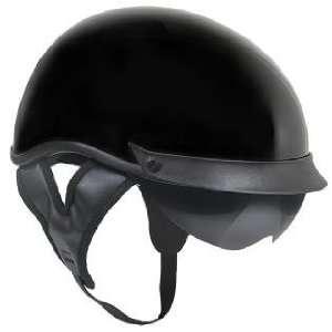 Outlaw T 72 Black Glossy Dual Visor Motorcycle Half Helmet