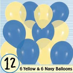 Latex Balloons   6 Navy & 6 Yellow Baby Shower Balloons: Toys & Games