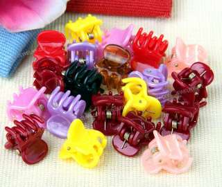 20 Multicolor Mixed Mini Small Plastic Hair Clips Claws Clamps