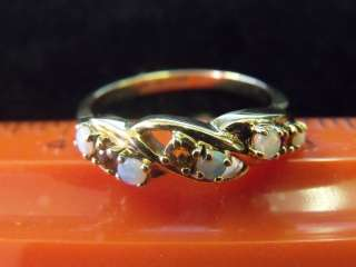 VINTAGE 10K YELLOW GOLD MOTHERS RING OPAL,PEARL,GARNET TOPAZ BEAUTIFUL