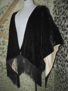 Vintage 40s era Dressy Black Velvet Fringe Shawl Cape Evening Party
