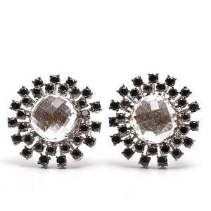 Garavelli 24.00cts Black Diamond Sapphire Gold Earrings