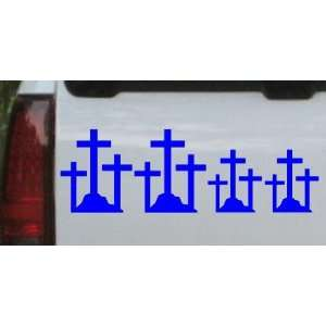 Blue 40in X 13.5in    Christian 3 Crosses Stick Family Stick Family