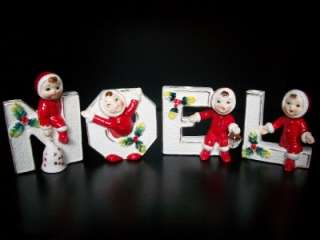 VINTAGE JAPAN NOEL CHRISTMAS BOY GIRL CANDLE HOLDER FIGURINES HOLIDAY