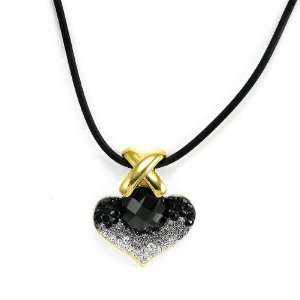 Perfect Gift   High Quality Elegant Black Crystal Glass Necklace with