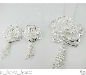 Fashion women jewelry set charm new silver rose flower necklace