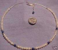 NEW STERLING SILVER LAPIS AND PEARL NECKLACE ref NFP02