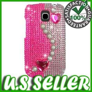PINK HEARTS BLING HARD CASE COVER FOR LG OPTIMUS T P509 PROTECTOR SNAP