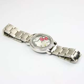 Lovely Ladys Hello Kitty Stainless Steel Bracelet Watch