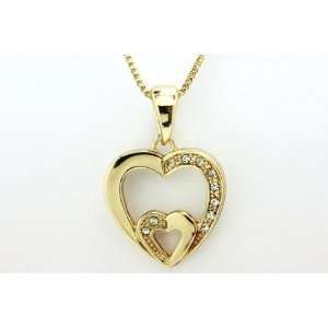 14K Yellow Gold Filled Two Hearted Pendant Jewelry