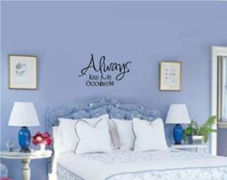 Always Kiss Me Goodnight Wall Words Stickers Lettering