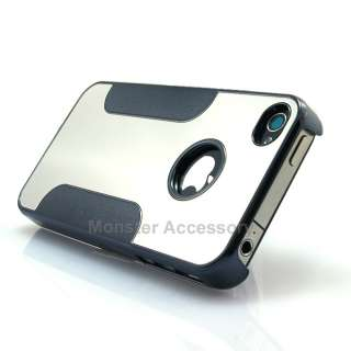 Black Chrome Mirror Metal Hard Case Cover Snap On for Apple iPhone 4
