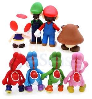 Mario Bro Figure Posable 8pc  Mario Luigi Yoshi Toad Goomba