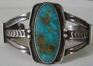 VINTAGE NAVAJO INDIAN STERLING SILVER TURQUOISE CUFF BRACELET