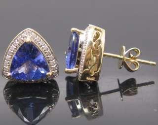 yellow gold natural diamond gorgeous blue tanzanite earrings the