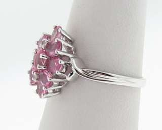 Estate Natural Pink Sapphires Diamonds White Gold Ring