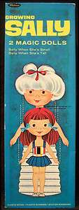 1969 Whitman Remco Growing Sally 2 Magic Paper Dolls   Clothes