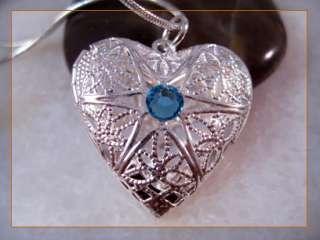 Lovely Swarovski Sapphire Silver Heart Locket Necklace