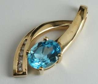 CT London Blue Topaz & Channel Set Diamond 10K Yellow Gold Slide