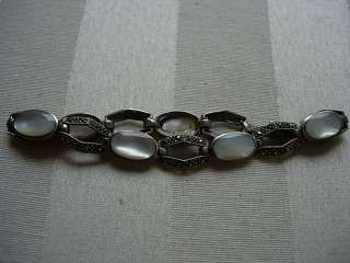VTG STERLING MARCASITE MOTHER OF PEARL LINK BRACELET GORGEOUS