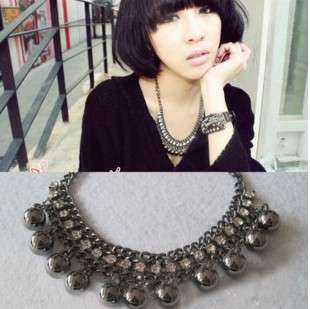 Black Ball Bead Rhinestone Multideck NEW Style Necklace