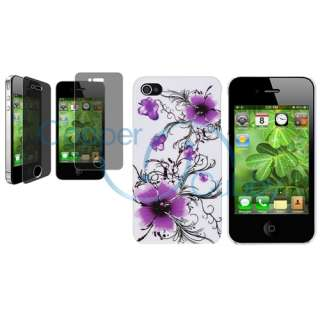 Purple White Flower Hard Case+Privacy LCD Pro for iPhone 4 4G 4S 4GS