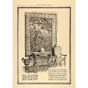 1919 Ad W.J. Sloane English Furniture Antique Tapestry