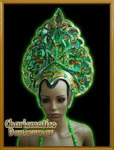 GREEN Drag Queen Pageant CABARET BURLESQUE HEADDRESS