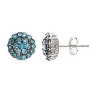 Carat Blue Diamond Cluster Studs Earrings 14k White Gold Jewelry