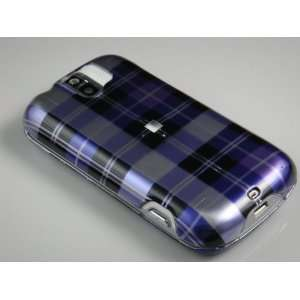 PURPLE CHECK Hard Plastic Graphic Case for HTC myTouch Slide 3G (T