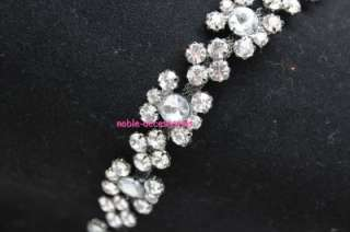 fashion bridal costume applique diamante rhinestone crystal silver