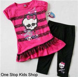 MONSTER HIGH Girls 6 6X 7 8 10 12 14 16 Tunic Set OUTFIT Shirt Top