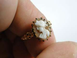 Antique 14K Solid Gold Cameo Cocktail Ring Vintage Carved Shell Old