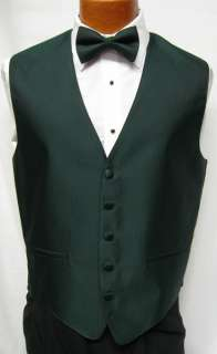 Mens Green Herringbone Fullback Vest & Tie All Sizes