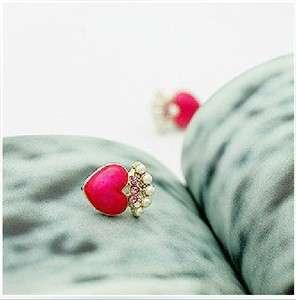 new top korean fashion lovely cute rhinestone imitation pearl stud