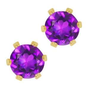 1.50 Ct Round Purple Amethyst Gold Plated 6 prong Stud