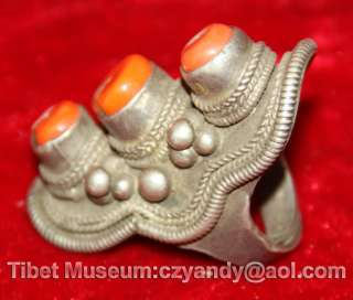 Wonderful Old Antique Tibetan Noble Pure Silver Coral Ring