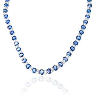 18K WHITE GOLD DIAMOND & CEYLON BLUE SAPPHIRE NECKLACE