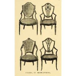 Engraving Hepplewhite Dining Room Chair Backspat Carved Wood Furniture