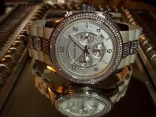 MICHAEL KORS White CHRONO Unisex CRYSTAL Bezel OVERSIZE Watch MK5197