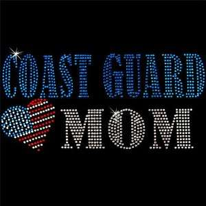 Iron on Hot Fix Rhinestone Motif Design US Coast Guard Mom